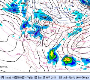 GFS model forecast for late Saturday