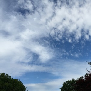 Early cirrus clouds with approaching warm front