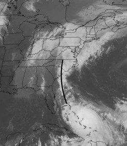 Stream of moisture from Hurricane Joaquin today.