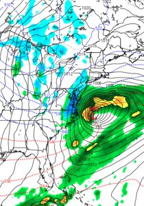 NAM prediction for Monday evening